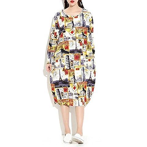 Fxwj Robes Longue col rond à manches longues Impression Motif personnalité en vrac Coton et lin ,