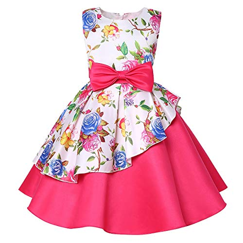 Coupon Matrix - Toddler Kids Baby Girls Floral Print Princess Bridesmaid Pageant Gown Dress,Mounter Sleeveless Christmas Party Wedding Dress Mini Dress(12M-7T) (Hot Pink, 12-24 Months)
