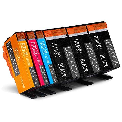 Preisvergleich Produktbild WELPOP Ersatz für HP 934XL 935XL Druckerpatronen, Hoher Reichweite (3 Schwarz/1 Gelb/ 1 Blau/ 1 Rot), Kompatibel für HP Officejet 6812 6815 Pro 6830 6835 6230 Drucker