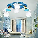 XQY Regenbogenwolken-Deckenleuchte des Kinderzimmers, Jungen- Und Mädchenschlafzimmerbeleuchtung, LED-Kindergartenkarikaturlampe,Weißer Schornst,20W