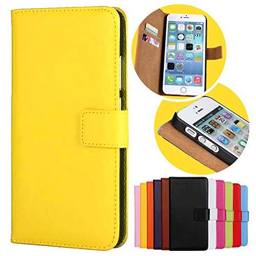 Roar Handy Hülle für HTC One M8, Handyhülle Gelb, Tasche Handytasche Schutzhülle, Kartenfach & Magnet-Verschluss