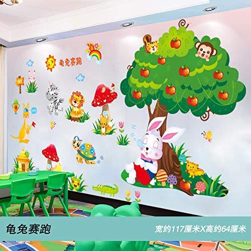 Kreative Comic-Wandgestaltung Wandtattoos dekorative Wandtattoos selbstklebende Tapeten-Schildkröte Rabbit Race_Extra groß