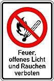 H.Klar Schild Alu Feuer, offenes Licht und Rauchen verboten 300x200mm