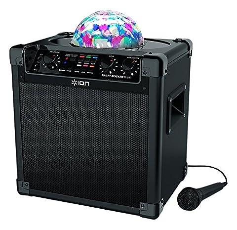 ION Audio Party Rocker Plus Sono 50W Bluetooth Portable et Rechargeable Longue Autonomie avec Puissante LED Disco et Microphone Inclus