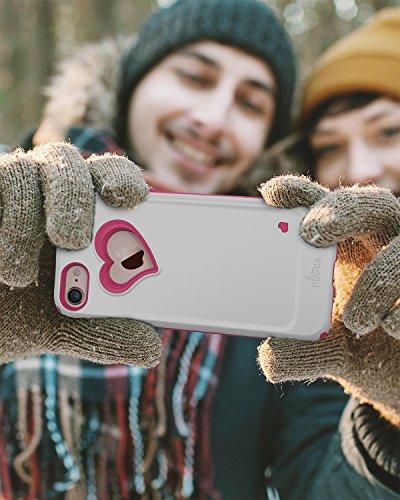 iPhone 7custodia, Vena [Vlove]] cuore-figura | a doppia protezione antiurto per Apple iPhone 7(11,9cm cm) (oro rosa/corallo rosa) Bianco / Rosa