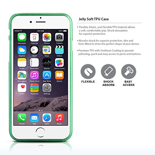 TheBlingZ.® Rayé silicone TPU Housse Etui Coque Case Cover iPhone 6 - Vert Vert