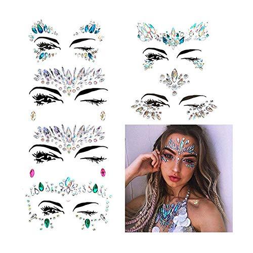 sicht Aufkleber Edelsteine, Temporäre Gesicht Tattoos Selbstklebend Schmucksteine, Strass Face Sticker für Parties, Shows, Make-up (2) ()