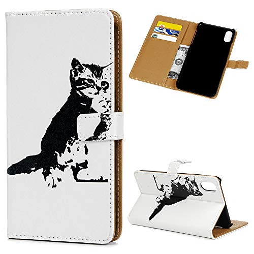 iPhone Fall 16,5 cm Wallet Flip Folio Ständer Karte Slots Kawaii Bunte Gemälde PU Leder Wallet Case Stoßfest PC Rückseite Shell Bumper Slim Schutzhülle Handy Cover für iPhone 16,5 cm, Katze - Mineral Hot Springs
