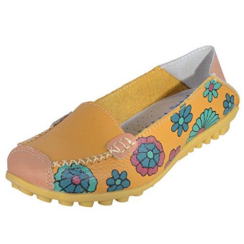 Hee Grand femme Imprimé Fleur colorée à enfiler chaussettes-Pompes Jaune