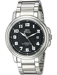 gino franco Men's 909BK Round Stainless Steel Bracelet Watch