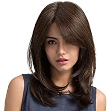 Peluca Hondulado Rizado Liso Pelucas Largas Cortas High-Temperature Marrón Negro Rosa Rojo para Mujer