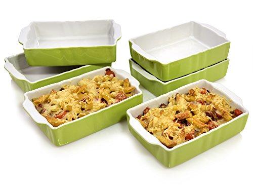 Bluespoon Auflaufformen Set 'Classico' aus Porzellan Grün 6 teilig | Füllmenge 0,7 Liter | Ofenformen zur perfekten portionierung | Ofenfest bis 220° C | 20x12x4,5 cm