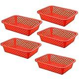 Onecreation Rouge ou vert Lot de 5petits paniers de plastique de cuisine Rangement Bureau