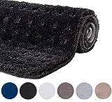 etérea Microfaser Badematte Lizz mit Hoch-Tief Effekt - weicher & Flauschiger Badezimmer Badvorleger Badteppich - rutschfest & Ökotex 100 Zertifiziert - Größe: 50x80 cm Teppich, Anthrazit