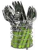 24Stück Besteck-Set Edelstahl rund mit Farbige Kunststoffgriffe Plus Platz für Rack in schwarz, blau, braun, grün, orange, rot oder weiß - grün