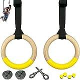 Anelli olimpici da ginnastica in legno con chiusura rapida cinghie con fibbia per l'allenamento della parte superiore del corpo, per eseguire diversi esercizi di fitness crossfit