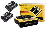 3in1-SET für die Sony Alpha 58 / SLT-A58K --- 2 PREMIUM Akkus für Sony NP-FM500 / NP-FM500H (starke 1600mAh) + Dual LCD Ladegerät (mit KFZ/Auto-Adapter) inkl. PATONA Displaypad