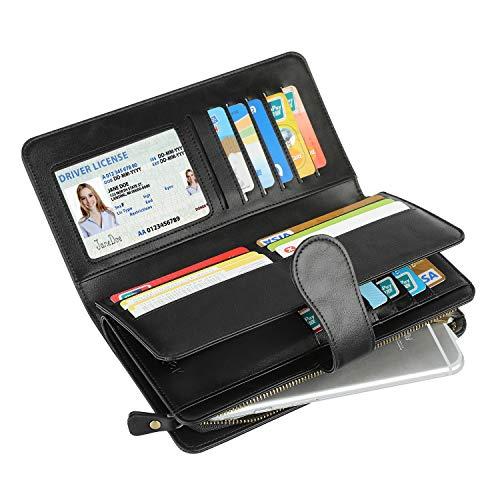 Geldbörse Damen Leder, Vogek Geldbeutel mit RFID Schutz Viele Fächer Portemonnaie Frauen Brieftasche Damengeldbörse Portmonee Leder mit Handyfach und Reißverschluss