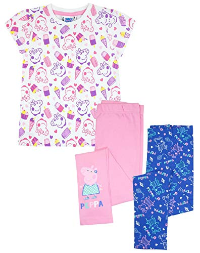 Peppa Pig Girls T-Shirt und 2er Pack Leggings Geschenkset Bundle