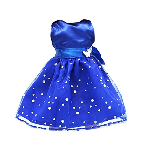 Mode Paillette Sleeveless Partei-Kleid Exquisite nettes Kleid für 18 Zoll American Girl Dolls Blau (Doll Girl Videos American)
