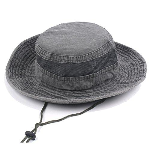 Männer Sommer Baumwolle Keine Stickerei Visier Eimer Hüte Fischer Hut Outdoor (Braun Offizier Marine Hut)