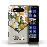 Personalisiert Individuell Blumen Hülle für Nokia Lumia 820 / Gänseblümchen/Minze Grün Design / Initiale/Name/Text Schutzhülle/Case/Etui