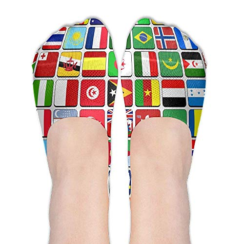 dfegyfr World Flag Globe Women's Polyester Cotton Socks Ladies Boat Socks Deodorant Boat Socks Thin Section Casual Socks Low Breast Socks