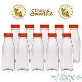 GARGO | 10 Stück | Trinkflasche für Smoothies - Flasche aus PET Kunststoff mit 330 ml Volumen | praktische Kunststoffflasche für Arbeit, Sport und Schule | Eine auslaufsichere, Wasser Flasche, Fahrradflasche, Sporttrinkflasche - ideal geeignet für dickflüssige Lebensmittel und daher perfekt für einen Smoothie oder Trinkjoghurt und andere Milchprodukte