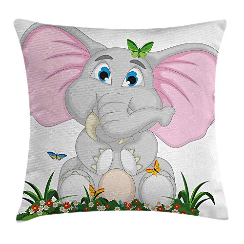 Butterfly Garden Seat (BUZRL Elephant Nursery Decor Throw Pillow Cushion Cover, Friendly Elephant Cartoon in Garden Daisies Butterflies Huge Ears, Decorative Square Accent Pillow Case, 18 X 18 inches, Multicolor)