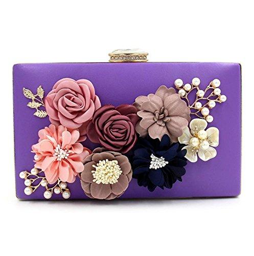 WYB Blumen Abendtasche / wulstige Kupplung / bag Diamant / Perle Abendtasche / Partei-Messenger Bag lila