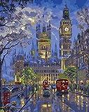 WMMSM Paris London vista nocturna pintura por números imagen modular pintura al óleo DIY en ladecoracióncaseraarte de la pared