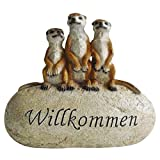 Drei Erdmännchen auf Stein WILLKOMMEN Gartendeko Dekoration Figur Dekostein Stein NEU