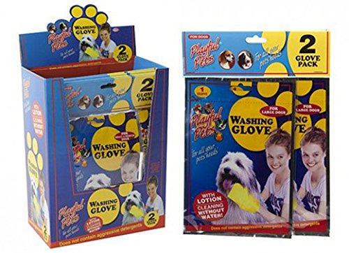 Pet Zauberhandschuh Waschen ohne Wasser Hund Katze Fellpflege Reinigung 2-Pack