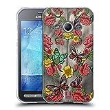 Head Case Designs Leder Und Blumen Gedruckte Patches Und Textilien Soft Gel Hülle für Samsung Galaxy Xcover 3