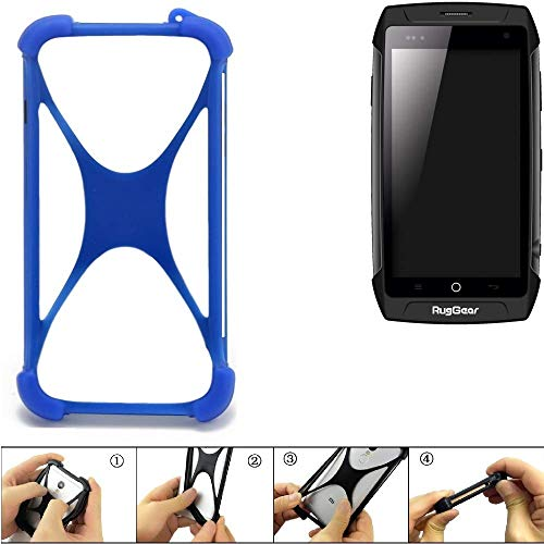 K-S-Trade Bumper Ruggear RG730 Silikon Schutz Hülle Handyhülle Silikoncase Softcase Cover Case Stoßschutz, blau (1x)