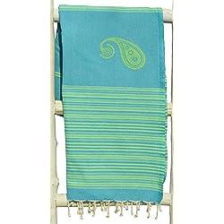 Fouta | Toalla hammam 'Biarritz' | toalla de baño liviana | En negro con rayas de color turquesa |100x190 cm | 100 % algodón de excelente calidad | diseño exclusivo de ZusenZomer (Turquesa y Verde Claro)