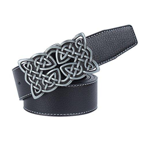 Sharplace Cinturón de Cuero PU Accesorios para Pantalones Vaqueros Jeans - Negro, Hebilla Patrón Nudo Céltico 8x5.8 cm