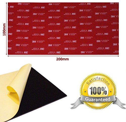 2 Patins individuels X Noir Double Face Acrylique VHB 3 m oblong - 100 mm x 200 mm x 1 mm d'épaisseur - Grande résistant aux intempéries VHB Heavy Duty ruban - Modèle : 5952