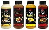 XXL Nutrition Light Sauce Fritten Mix Box (4x265ml) - Kalorienarme Soßen mit echten Gemüse, Kräuter und Gewürze - Testpaket aus Mayo Zero, Tomaten Ketchup, Toppie Snack Sauce und Curry Ketchup