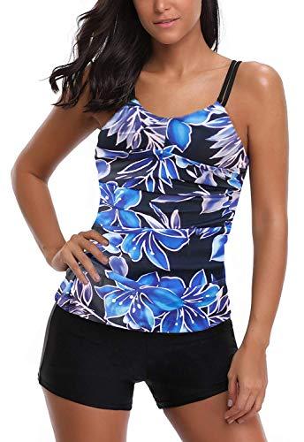 AYEEBOOY Frauen Plus Size Floral Halfter Tankini Set mit Boyshort zweiteiligen Badeanzug(5IceFP,EU (44-46)) -