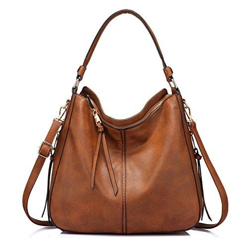 Handtaschen Damen Lederimitat Umhängetasche Designer Taschen Hobo Taschen groß Mit Quasten Braun - Coach Tasche