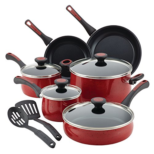 Paula Deen 12 Piece Riverbend Aluminum Nonstick Cookware Set, Red Speckle by Paula Deen