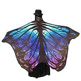 Xmiral Disfraz para Mujer Chal de Alas de Mariposa Costume para Carnaval Fiesta Bufandas Poncho Accesorio Chicas(Azul,197 * 125cm)