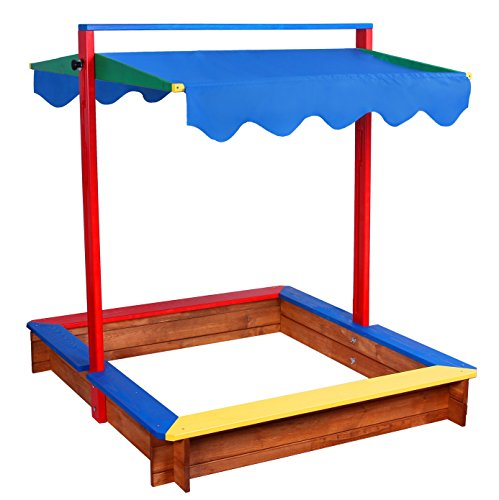 Preisvergleich Produktbild Sandkasten mit Sitzbank und blaues Dach + Anti-Unkraut Bodenplane GRATIS!