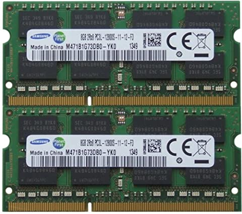 Samsung original 16GB kit (2 x 8GB) 204-pin SODIMM, DDR3 PC3L-12800, 1600MHz ram memory module for laptops