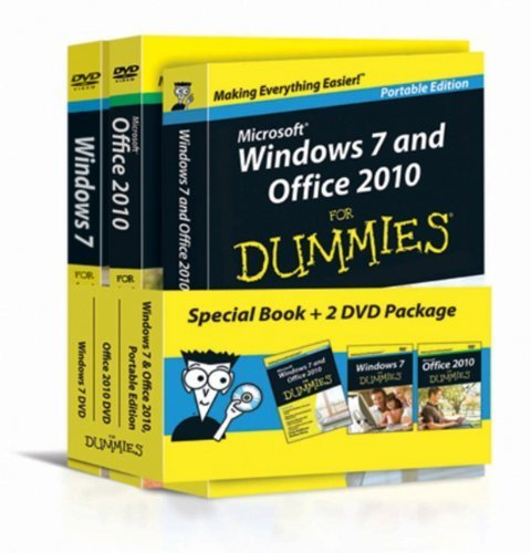 Portada del libro Windows 7 & Office 2010 For Dummies, Book + DVD Bundle 1st edition by Rathbone, Andy, Wang, Wallace (2010) Paperback
