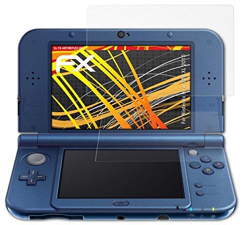 atFoliX Protector Película Nintendo New 3DS XL (2015) Lámina Protectora - Set de 3 - FX-Antireflex-HD Antirreflejo para pantallas de alta resolución