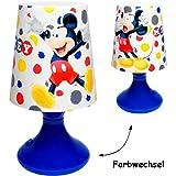 Unbekannt LED Tischlampe -  Disney - Mickey Mouse  - mit Farbwechsel - Batteriebetrieben - SCHNURLOS & Kabellos - 19 cm hoch - Tischleuchte für Kinder / Nachtlicht Sc..