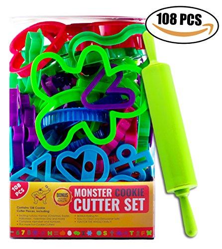 Küche Sumo 108-teiliges Set Cookie Cutter Set mit Bonus Rolling Pin (Pin Cutter Cookie Rolling)