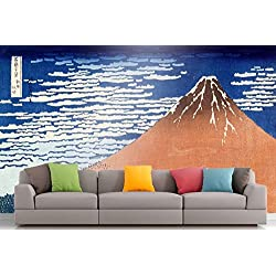 The Museum Outlet Roshni Artes® - Curated Arte Mural - Hokusai - Monte Fuji | Vinilo Autoadhesivo decoración decoración Arte de Pared - 48 x 36 cm